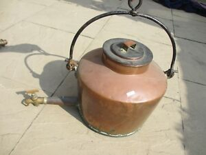Large Victorian Copper Kettle Hot Water Tank Urn Brass Spout Antique Old Hanging