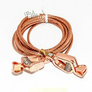 Static Discharge Grounding Cable Wire 6awg Bare Copper To 21cpn 100amp Clips 8ft