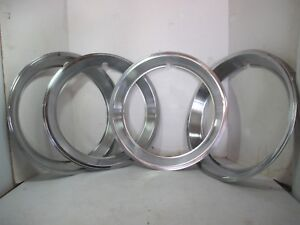 Four 16 Vintage 1947 64 Chrome Ribbed 2 Deep Beauty Rings Mercury Kaiser Lot