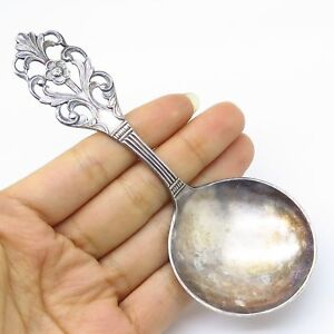 Vtg Norway Thorvald Marthinsen Viking Rose 830s Silver Nut Candy Spoon