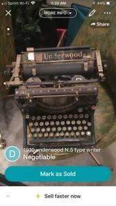 Vintage Underwood 1910 No 5 Typewriter