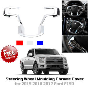 Car Chrome Steering Wheel Cover Moulding Trims Decor For 2015 2017 Ford F150