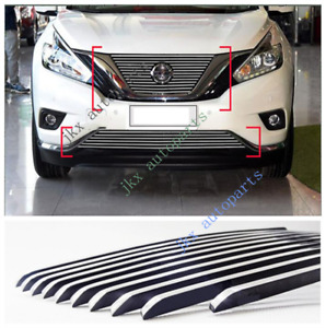 For Nissan Murano 2015 2019 Aluminum Front Bumper Grille Grill Trim Cover 2pcs