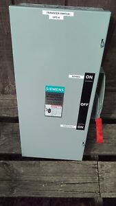 Siemens 100 Amp 600 Volt 3 phase Double Throw Manual Transfer Switch