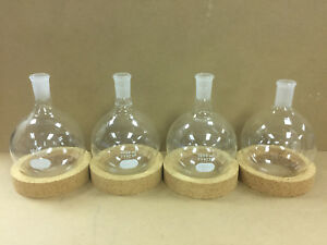 Laboratory Glass Boiling Flask Round Bottom 24 40 Ts Joint Short Neck Lot Of 4