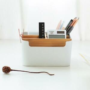 Pencil Holder Stationery Organizer Office Storage Supplies Bamboo Organization