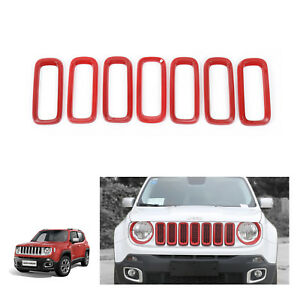 Front Grille Inserts Cover Trim For 15 17 Jeep Renegade Accessories Red 7pcs Abs