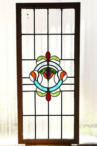 Large Tall Antique Stained Glass Window Fantastic Eight Color Art Nouveau 3124