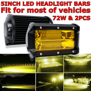 2x 5 72w 24 Led Car Work Light Bar Spot Beam Fog Driving Lamp Amber Offroad