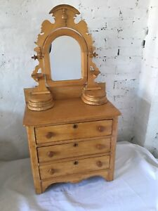 Antique Salesman Sample Scrub Pine Dresser Mirror Carved Child S Doll