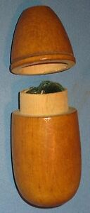 Vintage Treen Ware Lift Top Cylindrical Thread Holder 4 H Ca Early 1900 S