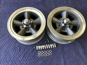 Vintage Pair Of Restored 5 Spoke Torque Thrust 14x6 Ford Mopar Dodge 5 On 4 1 2