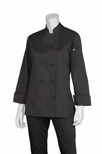 Chef Works Women s Marbella Chef Coat Black Small New