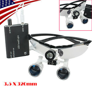 Usa Dental Loupes 3 5x320mm Surgical Binocular Loupes Glass Head Light Lamp Kit