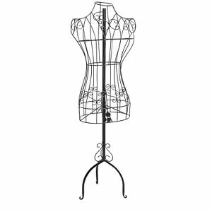 Designers Black Metal Adjustable Height Wire Frame Dress Form Display Stand New