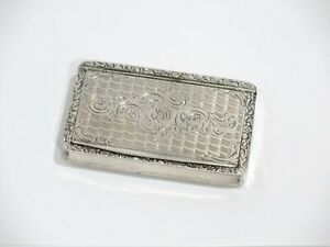 3 1 8 In Sterling Silver Antique English Scroll Decorated Snuff Box