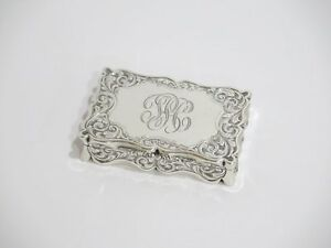 3 25 Sterling Silver Gilded Inside Antique English Birmingham Floral Snuff Box