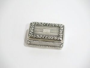 2 75 Sterling Silver Gilded Interior Antique English Thick Floral Rim Snuff Box