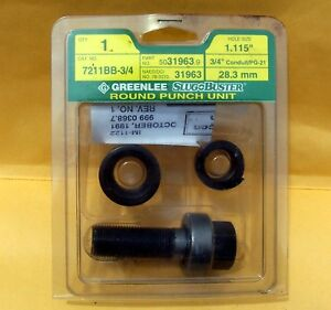 Greenlee Tool Slug Buster Round Punch Set 3 4 Conduit 7211bb 3 4
