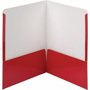 Smead Folders 2 pocket High Gloss Letter size 25 bx Red 87880