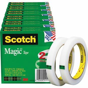 Scotch Magic Tape 3 Core 1 2 x2592 12 bd Transparent 8102p1272bd