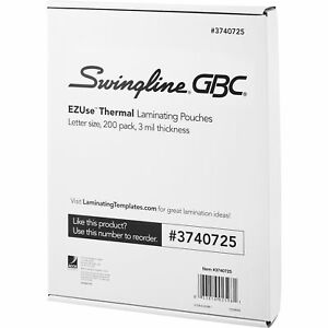 Swingline Thermal Laminating Pouch Ezuse Letter 3 Mil 200 pk Cl 3740725