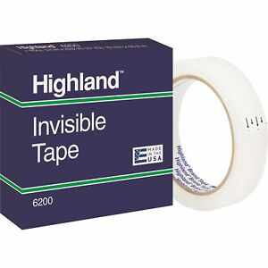 Highland Invisible Tape 3 Core 3 4 x2592 12 pk Clear 6200342592pk