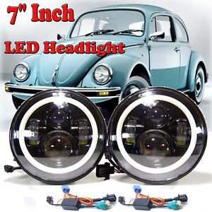 Fit Volkswagen Vw Beetle Classic 7 Inch Led Round Headlight Hi Low Beam Lamps