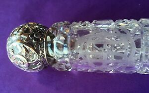 Antique Rare American Brilliant Cut Glass Sterling Large Laydown Perfume Bottle