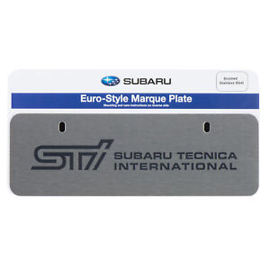 Oem Subaru Sti Euro Style Marque License Plate Stainless Steel Silver Soa342l132
