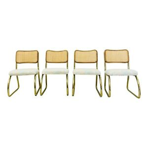 Set Vintage Cane Back Brass Cantilever Chairs