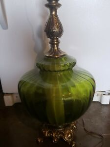 Pair Of Very Large 2mid Century Hollywood Regency Green Glass Blown Table Lamps
