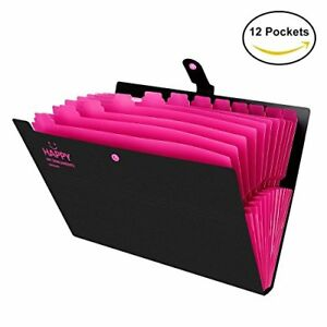 Expanding File Folder 12 Pockets Portable Accordion A4 Paper Size black