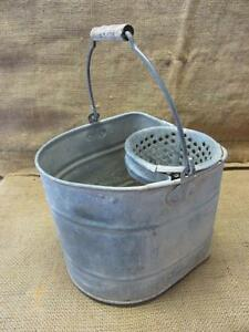 Vintage Galvanized Metal Bucket W Strainer Antique Old Iron Pail Pot 9465