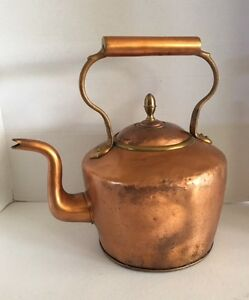 Vintage Copper 1800s English Dovetailed Tea Kettle Pot Large 12 H X 13 1 2 W