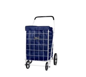 Portable Grocery Laundry Bag Shopping Cart And Easy Attaches Blue Cart Liner Set
