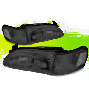 Left right Smoked Housing Clear Corner Headlight lamps For 93 97 Toyota Corolla