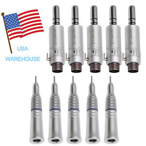 5 Set Dental Low Speed Straight Nosecone Handpiece E Type Motor 2 Hole Fi