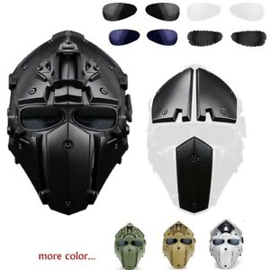 Full Protective Mask Tactical Airsoft Hunting Cosplay Helmet w 4pairs Goggles