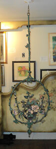 Large Antique French Painted Floral Tole Metal Chandelier