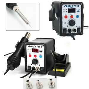 8786d Smd Soldering Iron Station Hot Air Gun Desoldering Welder 3 Nozzles 110v