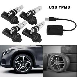 Car 5v Usb Android Ios Dvd Tire Pressure Monitor System Tpms 4 Internal Sensors