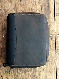 Franklin Covey Classic Zip Around Leather Binder 7 Ring Organizer