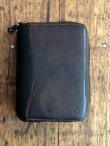 Franklin Covey Compact Leather Binder Organizer Planner 6 Ring Zip Around