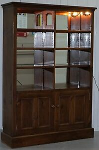 154cm Tall Glass Shelved With Lights Display Cabinet Bookcase Extra Shelves Incl