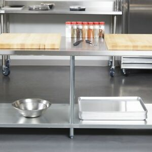 Meal Prep Station Restaurant Kitchen Island 96 Stainless Steel Table Top Large