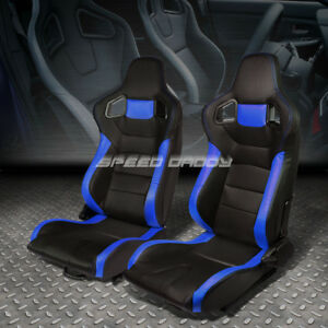 Pair Black blue Sides Fully Reclinable Pvc Leather Type r Racing Seats W slider
