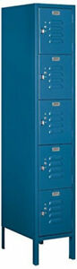Standard Metal Locker Five Tier Box Style Combination Steel Hasp Blue Doors Lock