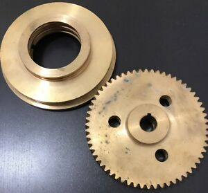 Large Brass Worm Gear Bell Housing Pulley 6 1 8 D Steam Turbine Part Assembly