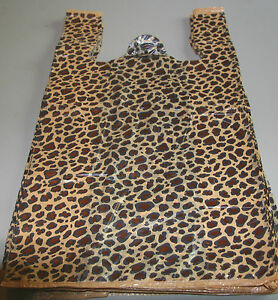 500 Leopard Print Plastic T shirt Bags W handles 8 X 5 X 16 Gift Party Retail